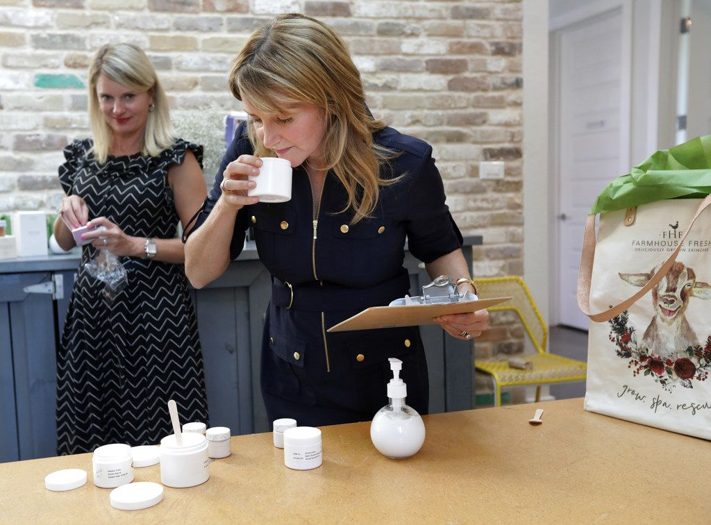 Delia McLinden (left) and sister-in-law Shannon McLinden test some of their FarmHouse Fresh products at their company headquarters in McKinney.