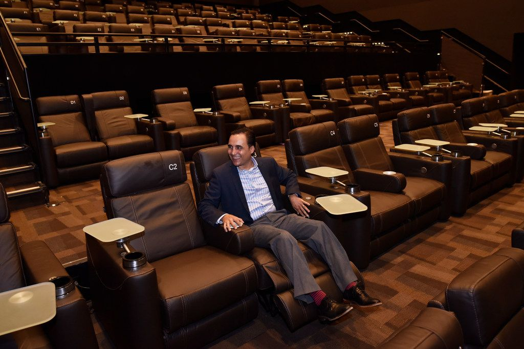 Luis Olloqui, president of Cinépolis USA, sits on a luxury recliner in one of the theater rooms inside the new the Cinépolis theater in Victory Park Dallas on June 29.