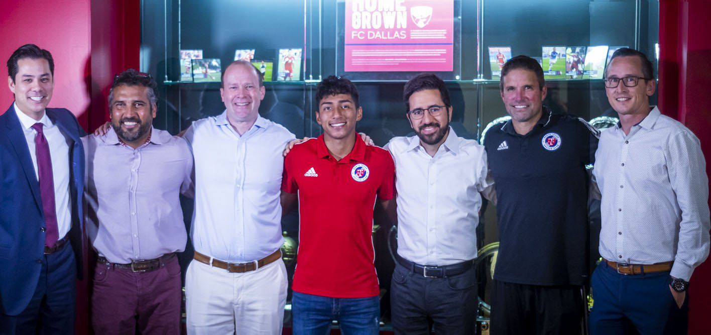 Imanol Almaguer signs with North Texas SC. Pictured left to right: Jimmy Smith (FC Dallas COO), Marco Ferruzzi (FCD Director of Soccer Operations), Dan Hunt (FCD Owner and President), Imanol Almaguer, Andre Zanotta (FCD Technical Director), Eric Quill (North Texas SC Head Coach), and Matt Denny (North Texas SC General Manager). (8/7/19)
