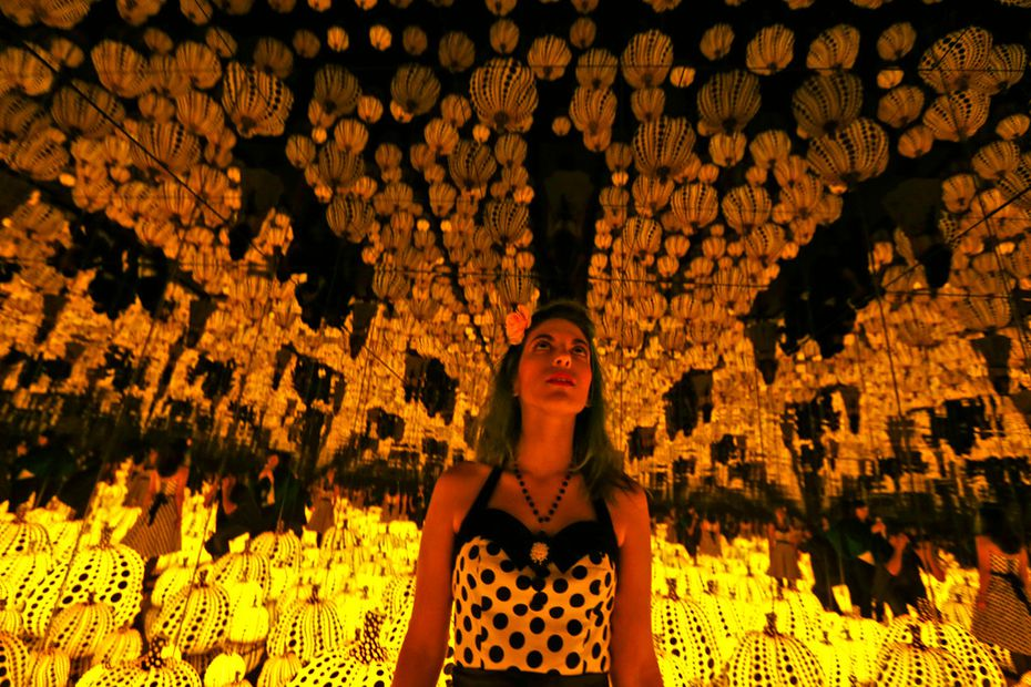Lyza Hernandez looks at the Yayoi Kusama's installation: All the Eternal Love I Have for the Pumpkins, at the Dallas Museum of Art.