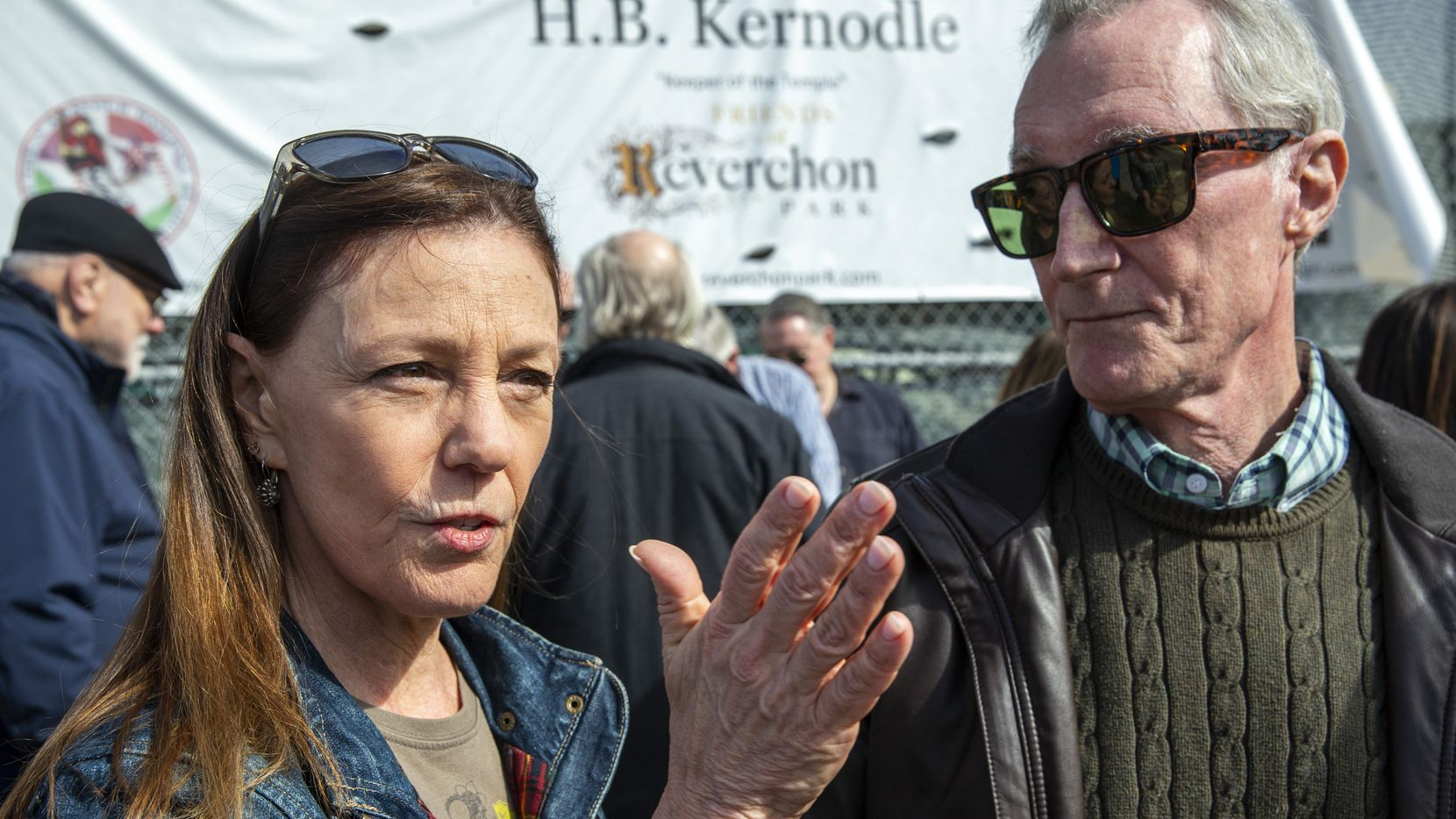 Charlotte (left) and Robert Barner talk about the potential ramifications of a privately developed baseball field during a press conference at Reverchon Park in the Oak Lawn/Uptown area of Dallas on Friday, Feb. 7, 2020. The Barners filed a lawsuit against the City of Dallas for allowing a $15 million deal to allow a private developer to build a baseball stadium in the park without seeking community input. Council members voted 11-4 to approve the deal last month.