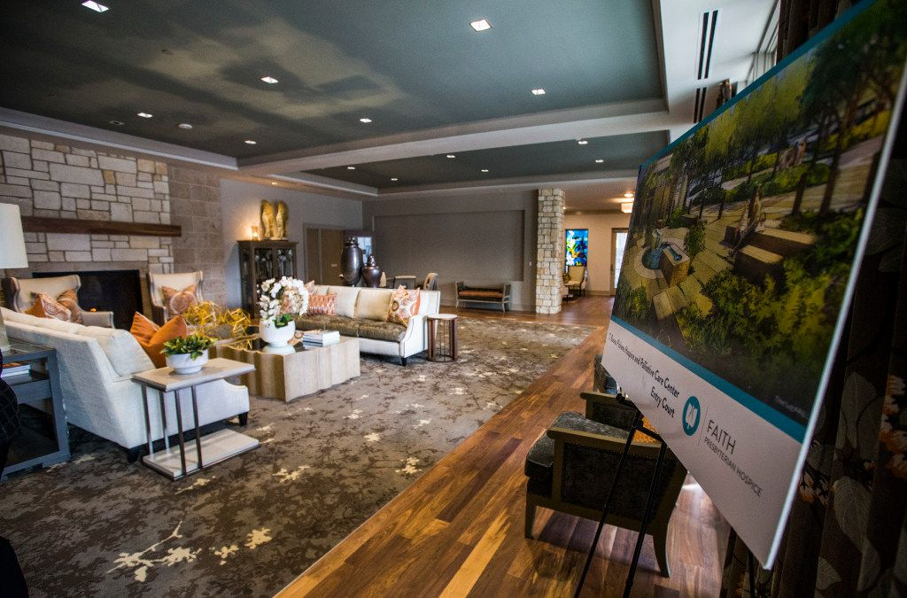 An artist rendering of the new T. Boone Pickens Hospice and Palliative Care Center is on display in the lobby on Tuesday, February 7, 2017 n Merit Drive in Dallas. The facility, which includes the Harold Simmons Inpatient Care Center and the Marnie and Kern Wildenthal Resource and Education Center, is the first free-standing inpatient hospice facility in the greater Dallas area, and is schedule to open around February 15. (Ashley Landis/The Dallas Morning News)