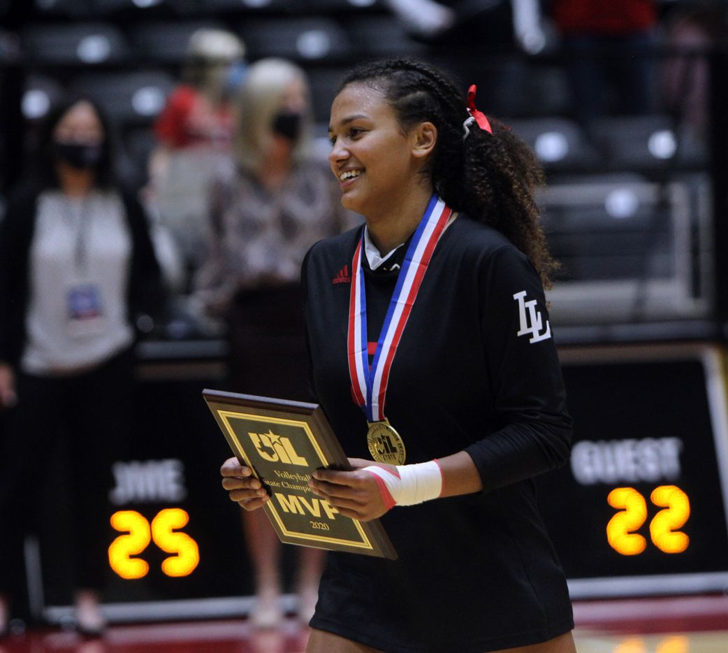 Lovejoy's Cecily Bramschreiber (5) was all smiles after being named MVP from the 5A state final for the 2nd consecutive year following the Leopards victory over Lamar Fulshear in straight sets. The two teams played their Class 5A state championship volleyball match at Curtis Culwell Center in Garland on December 12, 2020. (Steve Hamm/ Special Contributor)