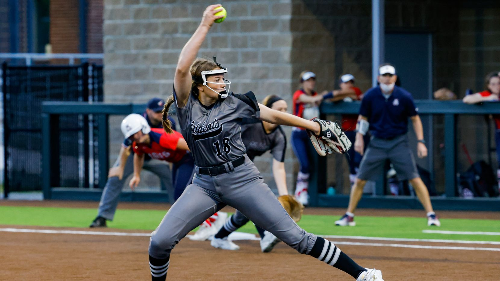 Guyer's Ranci Willis (18) pitches during the third inning of a District 5-6A game against Allen at Denton Guyer High School in Denton on Tuesday, Apr. 9, 2021. (Juan Figueroa/ The Dallas Morning News)