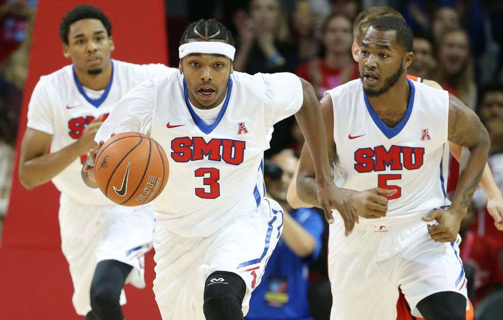 SMU guard Sterling Brown (3) runs up court in the first half during an NCAA season-opening basketball game between Sam Houston State and SMU at Moody Coliseum in Dallas Saturday November 14, 2015. (Andy Jacobsohn/The Dallas Morning News)