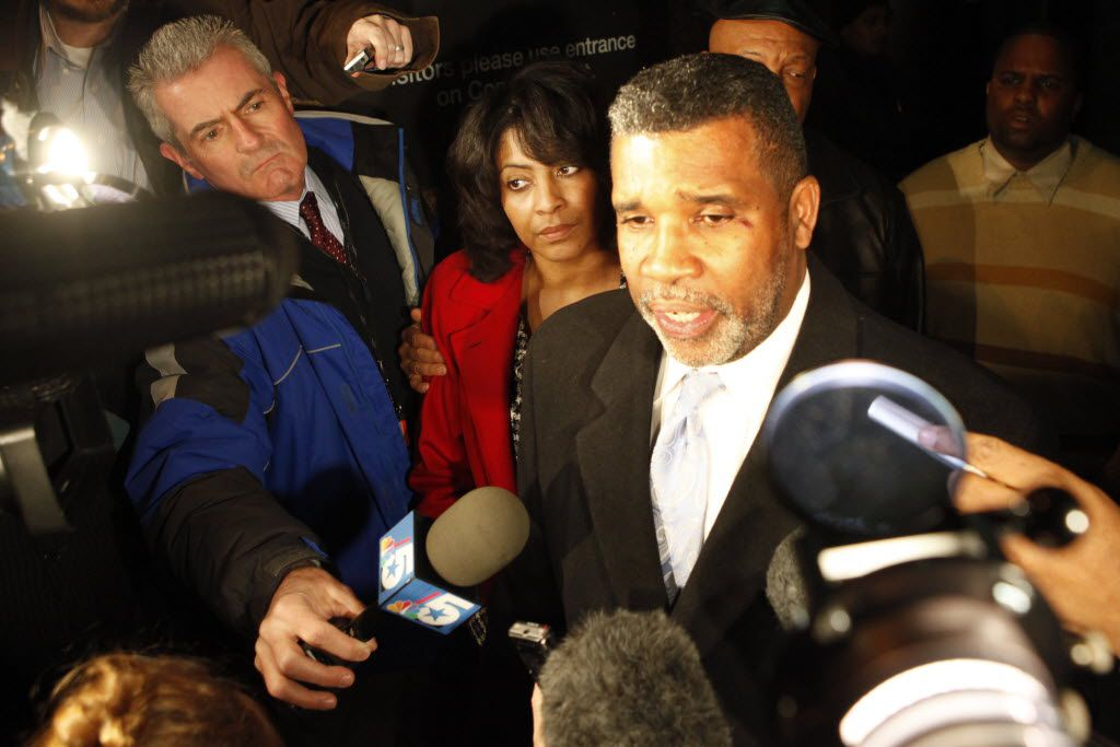 Former Dallas Mayor Pro Tem Don Hill, center and wife Sheila Farrington Hill, 2nd from left, address the media outside  the Earle Cabell Federal Courthouse in Downtown Dallas following their sentencing phase of their corruption and extortion trial in  2010. She got a 9-year sentence and he received an 18-year sentence. (FILE PHOTO)