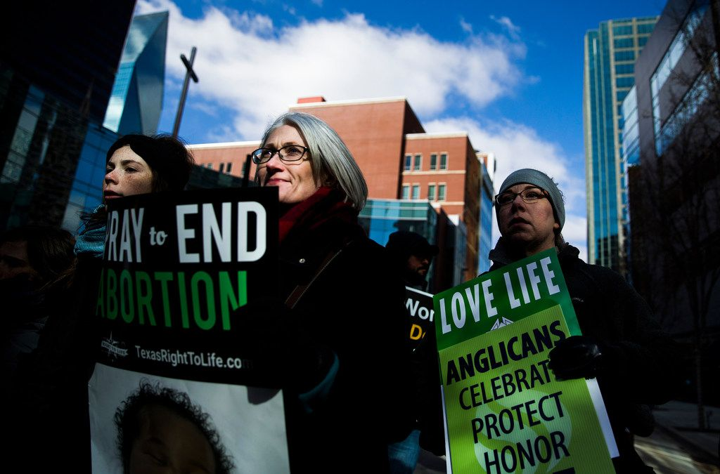 Demonstrators march from Cathedral Shrine of the Virgin of Guadalupe to Earle Cabell Federal Building during the North Texas March for Life on Saturday, Jan. 19, 2019, in downtown Dallas. Dallas is where the historic Roe vs. Wade lawsuit was originally filed.