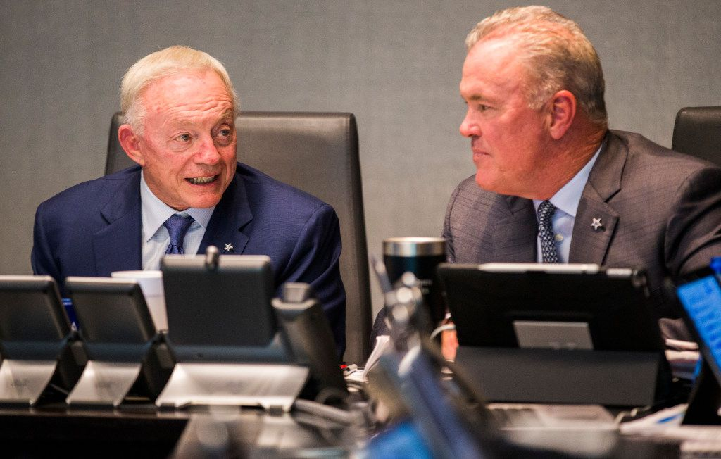 FILE - Cowboys owner Jerry Jones and executive vice president Stephen Jones discuss draft prospects in the war room during Round 1 of the 2017 NFL draft on Thursday, April 27, 2017, at The Star in Frisco. (Ashley Landis/The Dallas Morning News)