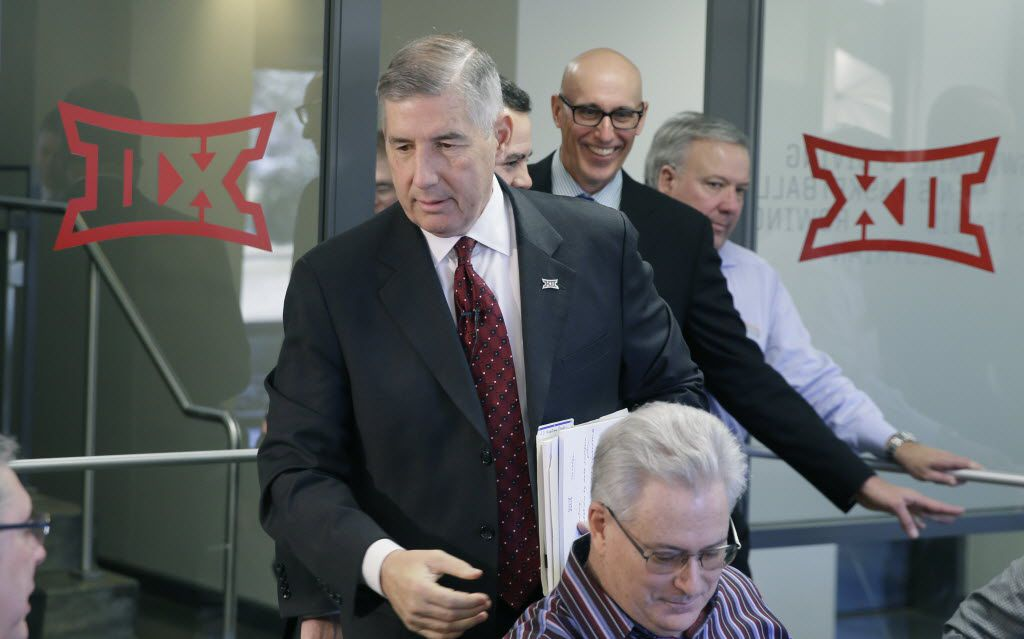 Big 12 commissioner Bob Bowlsby arrives to speak to reporters after the first day of the conference's meeting Thursday, Feb. 4, 2016, in Irving, Texas. (AP Photo/LM Otero)