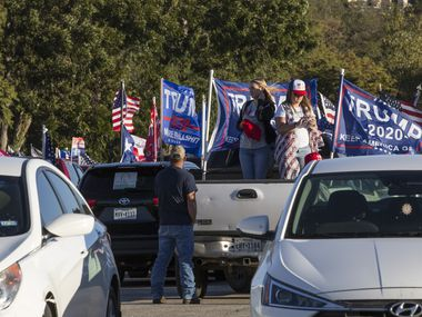 Supporters gather together for the Trump Train Rally at Rockin' R River Rides in New Braunfels, Texas on Thursday, Oct. 29, 2020.