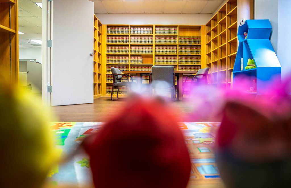 A Sesame Street-themed play room in the Dallas County Public Defender's office at the Frank Crowley courthouse in Dallas on Jan. 30, 2019. Kids can play in the former Law Library while clients talk about their cases with their lawyers.