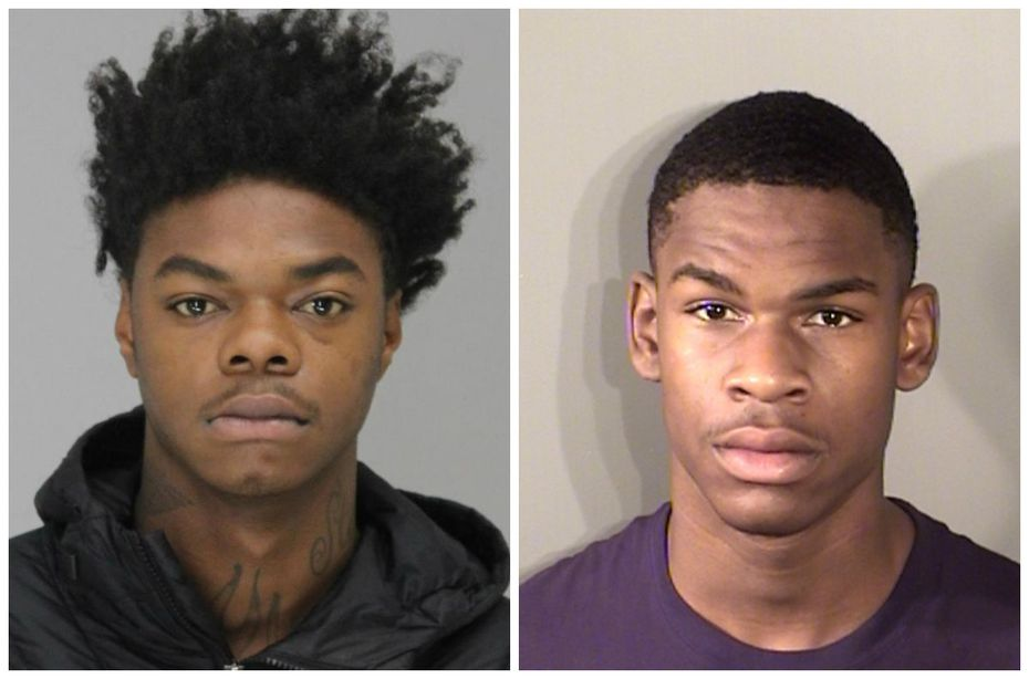 Demonte Kelly (left) and Lejael Rudley in file booking photos. No photo of Erick Montgomery was available.