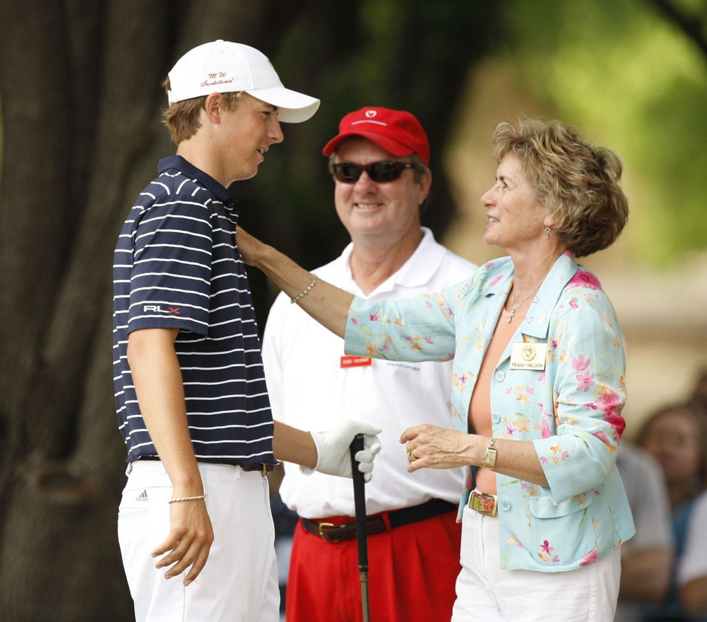 Peggy Nelson greeted Dallas' Jordan Spieth on the first tee during the final round of the HP Byron Nelson Championship at the TPC Four Seasons Golf Resort in Irving in 2010.