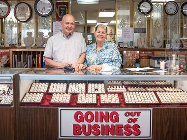 Phyllis Lambert, owner of Gold N Things, and husband John Lambert at the jewelry store in Duncanville. After 30 years, she's closing the shop because of the economy and pandemic.