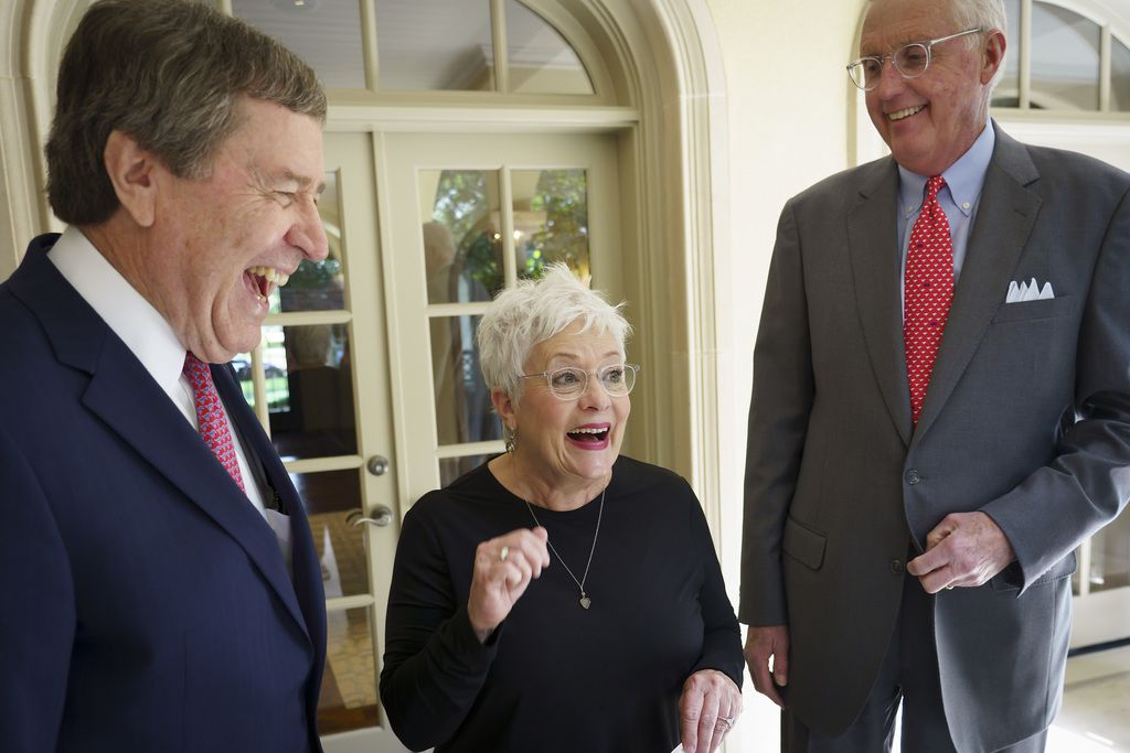 Carolyn Miller laughs with her husband David Miller (right) and SMU president R. Gerald Turner. The couple's total giving to SMU is more than $100 million.