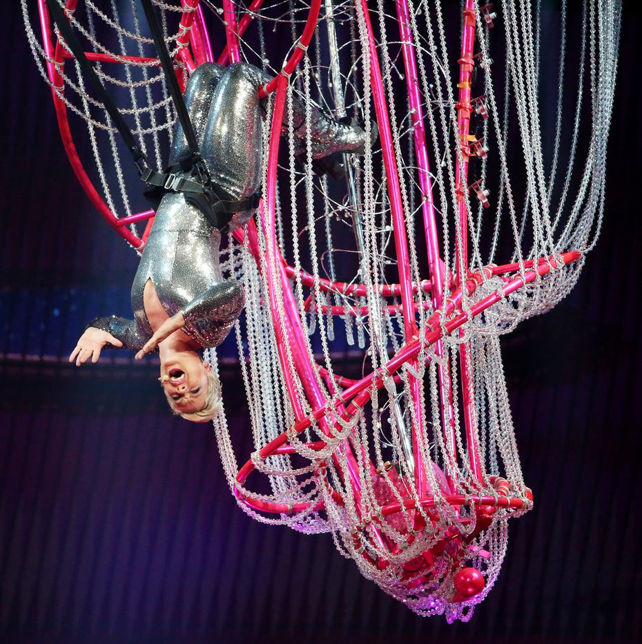Pink offers incredible acrobatics during her Dallas concert on May 1, 2018. She returns to the American Airlines Center for a second show on May 2, 2018.