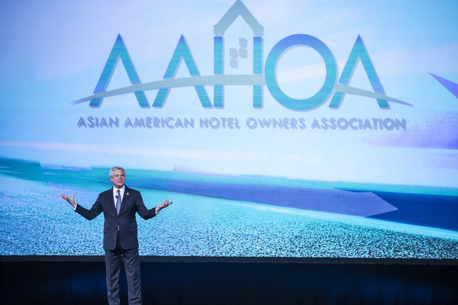 Asian American Hotel Owners Association Interim president and CEO Ken Greene speaks during their convention in Dallas Wednesday.