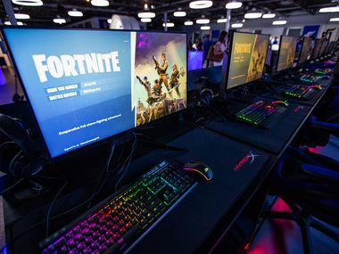 This file photo shows Fortnite loaded onto gaming computers during an open house at the Mavs Gaming Pavilion in Deep Ellum.