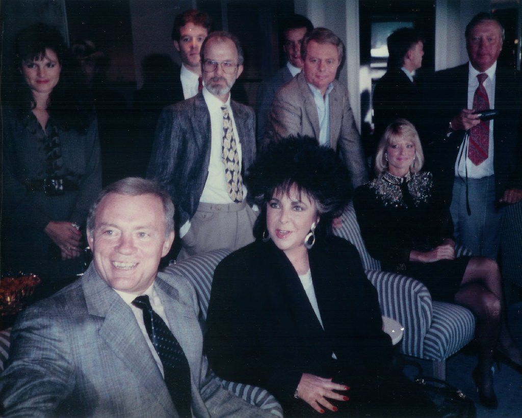 Elizabeth Taylor sits in Jerry Jones suite during the Dallas Cowboys first regular season home game with Jones as owner. The Cowboys vs. the Washington Redskins Sept. 24, 1989.