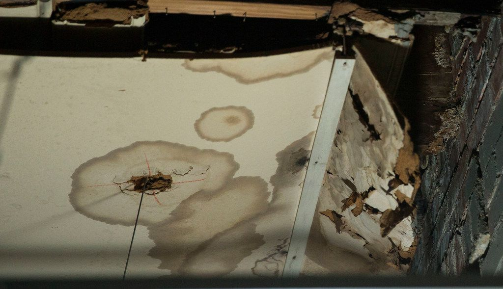 Water damage caused from the leaking roof at the Bataan Community Center in Dallas