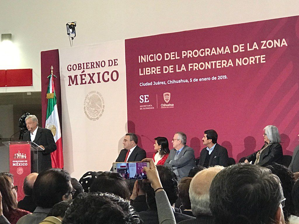 President Andres Manuel Lopez Obrador speaks in Ciudad Juarez about a plan to stimulate the economy and spur growth.