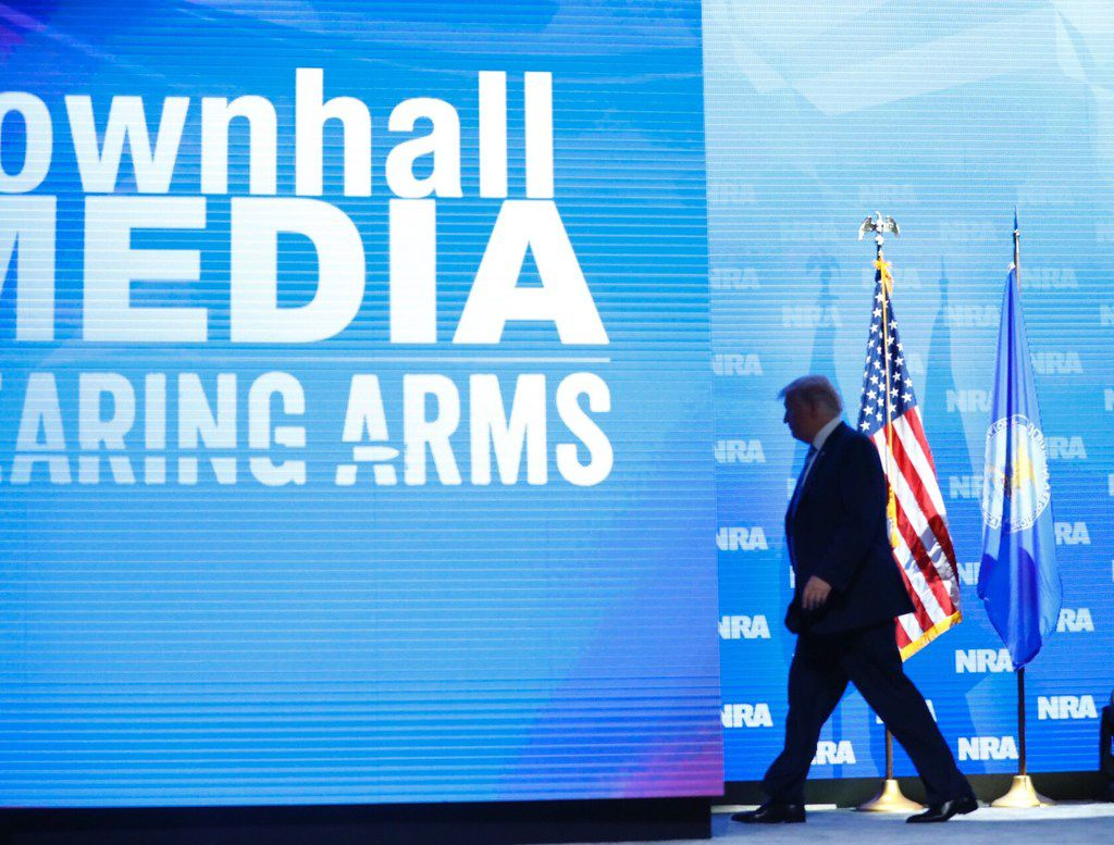 President Donald Trump exits after speaking to the crowd assembled in the Kay Bailey Hutchison Convention Center for the NRA Annual Meeting in Dallas, Friday, May 4, 2018. . This is the second year as President that Trump has spoken to the gun rights group. (Tom Fox/The Dallas Morning News)