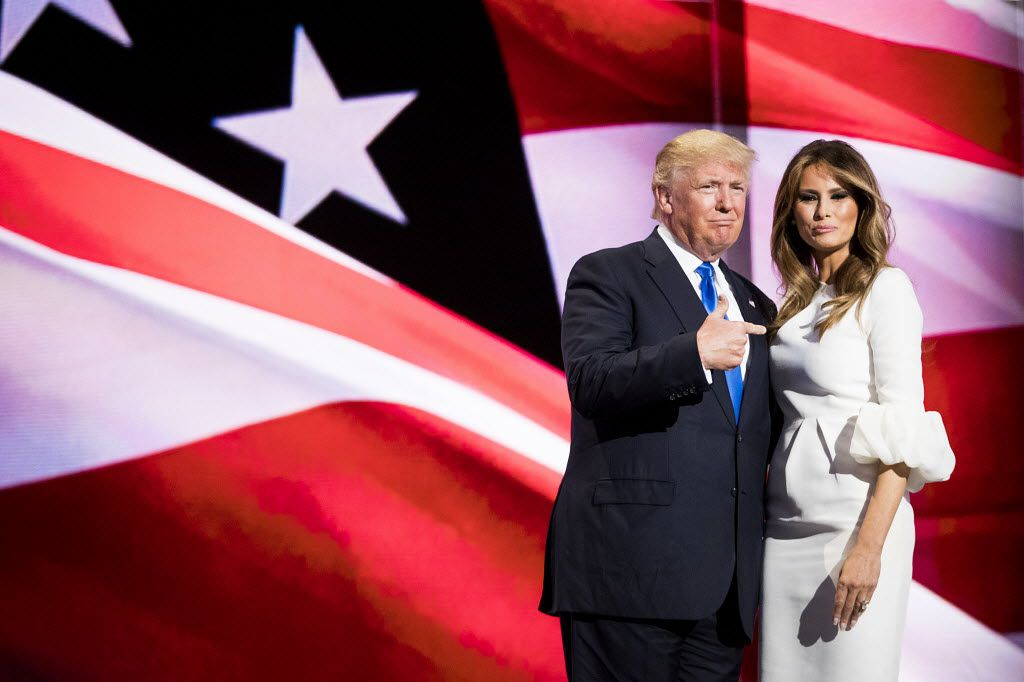 Donald Trump points to his wife Melania Trump after she addressed the Republican National Convention on Monday night.