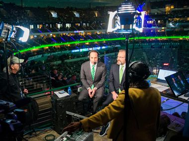 """From left, audio assistant Malcolm Johnson, play-by-play announcers Josh Bogorad and Daryl """"Razor"""" Reaugh, and stage manager René Young conduct a practice run before covering the hockey game between the Dallas Stars and the Vancouver Canucks at the American Airlines Center in Dallas on Sunday, March 17, 2019."""