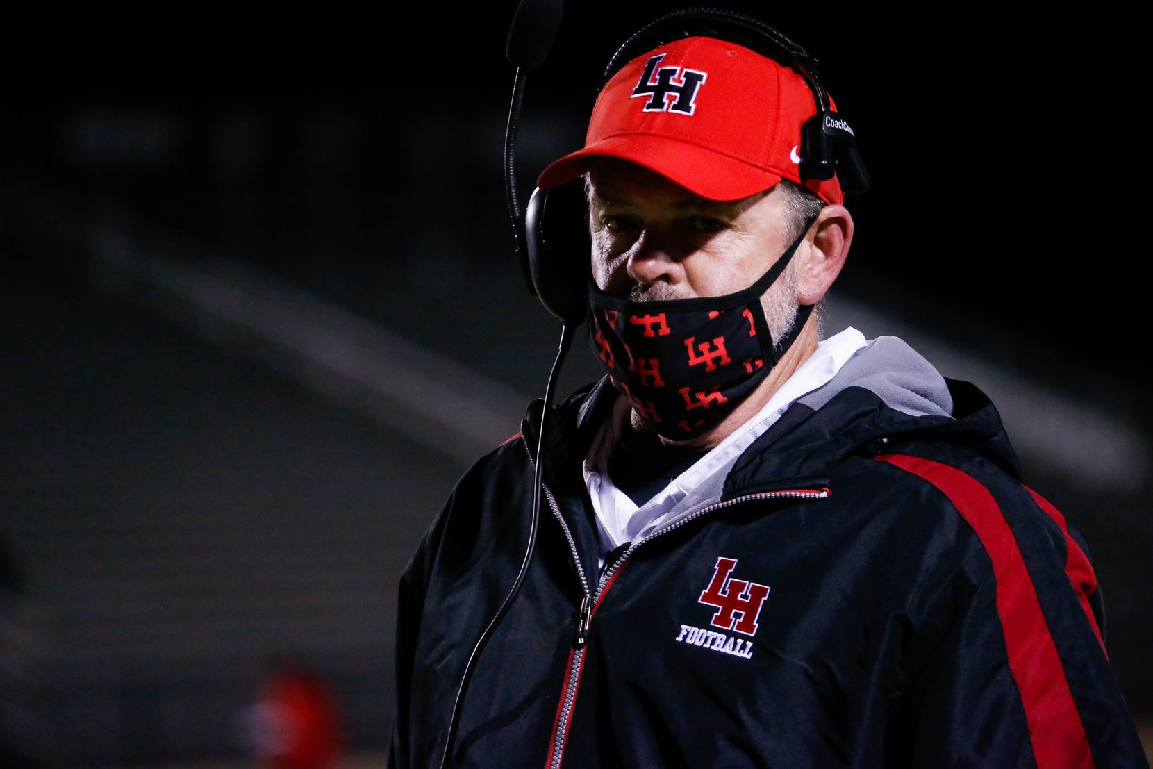 Lake Highlands' coach Lonnie Jordan watches the game during the fourth quarter of a high school football game against Irving MacArthur at Joy & Ralph Ellis Stadium in Irving on Friday, Oct. 23, 2020. (Juan Figueroa/ The Dallas Morning News)