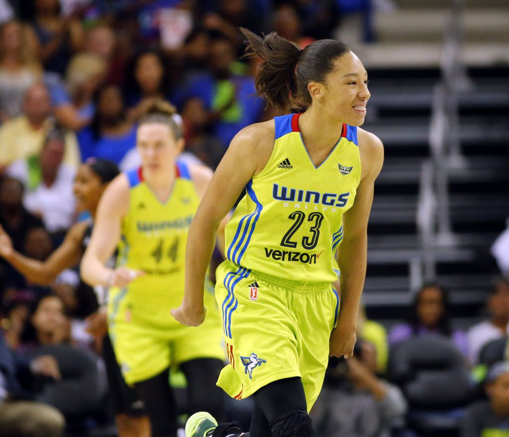 Dallas Wings forward Aerial Powers (23) reacts after hitting a second quarter  shot against the San Antonio Stars at College Park Center in Arlington, Saturday, May 21, 2016. (Tom Fox/The Dallas Morning News)