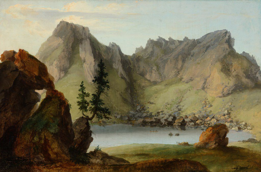Caspar  Wolf,  View  across  Lake  Seeberg  to  the  Muntigalm,  1778,  oil  on  canvas,  23  9/16  x  34  5/8.  (The Barrett  Collection)