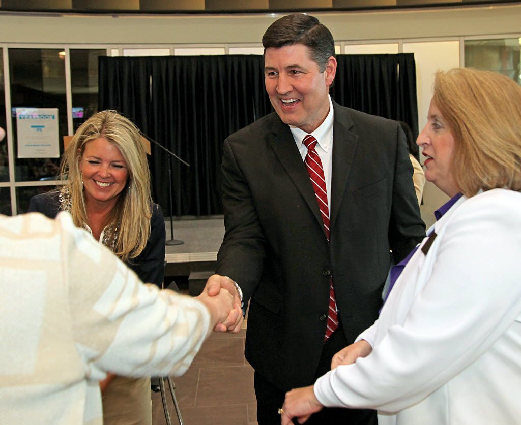 Lance Hindt greets school district employees during his days as superintendent of Allen schools in 2014. He announced his retirement from the Katy school district last week in the wake of bullying allegations against him.