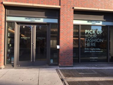 The Nordstrom Local in New York s West Village at 13 7th Avenue. The small storefront is a place to pick up online orders, try on clothing and either return on the spot or have them altered if needed. Other services include personal stylists, shoe and leather repair and gift wrapping.