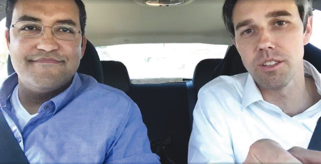 Reps. Will Hurd (left) and Beto O'Rourke drove from San Antonio to Washington, D.C., in March 2017, holding a town hall via Facebook Live on the way.