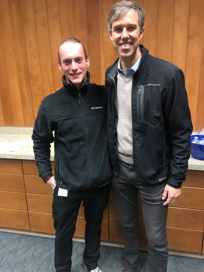Beto O'Rourke and Dylan Germaine, president of the student government association at Mesalands Community College, during a visit to the college in Tucumcari, N.M., on Jan. 15, 2019. Photo courtesy Brandon Smith.
