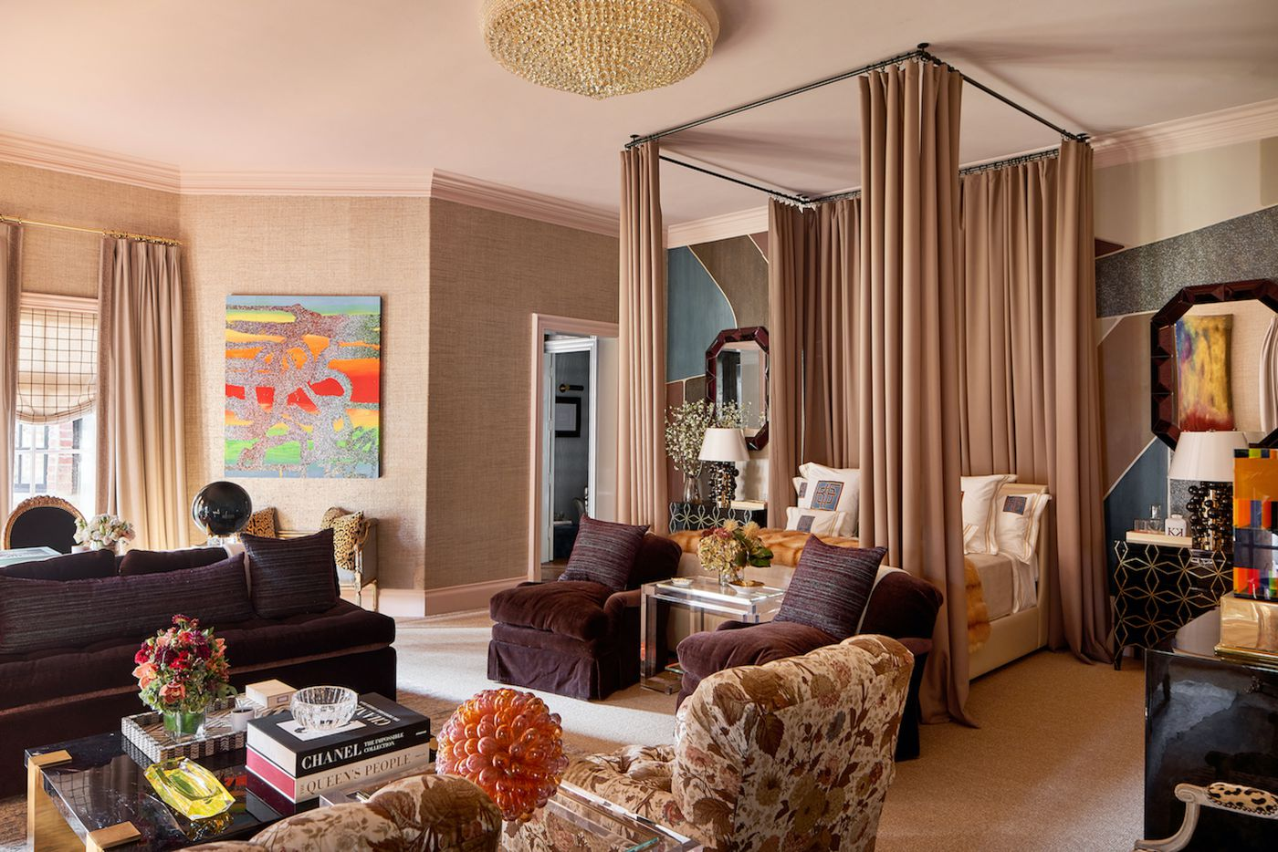 The primary bedroom at the Kips Bay Decorator Show House Dallas. This room was designed by Kirsten Kelli, LLC.
