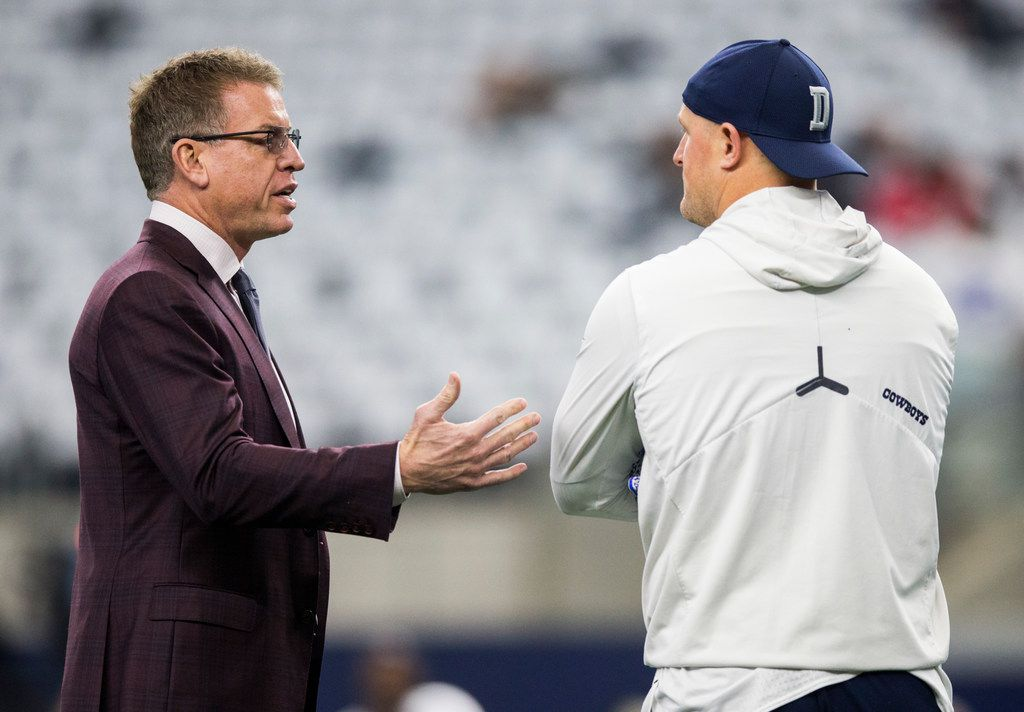 Dallas Cowboys tight end Jason Witten (82) talks with sports commentator and former Dallas Cowboys quarterback Troy Aikman before an NFL game between the Dallas Cowboys and the Washington Redskins on Sunday, December 29, 2019 at AT&T Stadium in Arlington, Texas. (Ashley Landis/The Dallas Morning News)