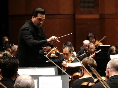 Robert Trevino conducts the Fort Worth Symphony Orchestra at Bass Performance Hall in Fort Worth on Feb. 28, 2020.