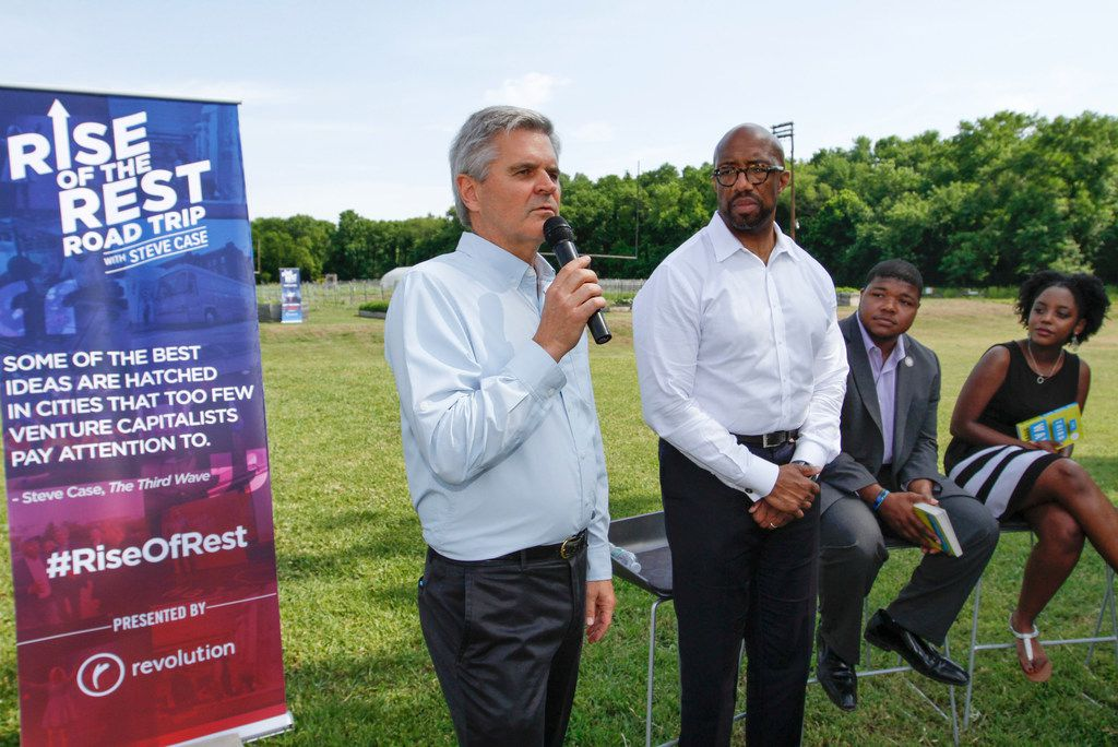 From left: AOL founder Steve Case talks as Paul Quinn College president Michael Sorrell and students Carnealus Manning and Evelyna Rosario look on during a stop at the college in southern Dallas on Monday, May 7, 2018. The Rise of the Rest road trip with Case made several stops in Dallas. The cross-country tour promotes the value of entrepreneurship and celebrates startups.
