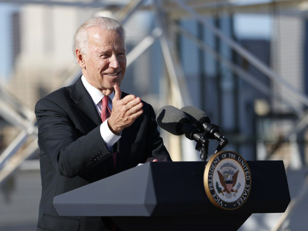 Vice President Joe Biden speaks on the importance of infrastructure on the rooftop of South Side on Lamar in Dallas on Nov. 18, 2015. (Rose Baca/The Dallas Morning News)
