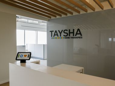 The front desk of the Taysha Gene Therapies office at Pegasus Park.