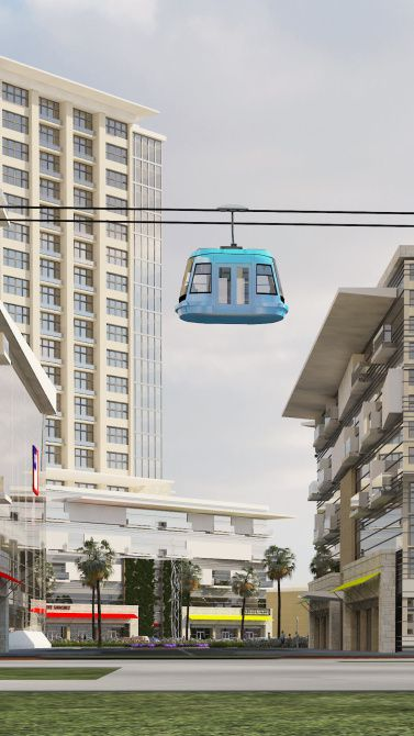 This rendering included in a presentation to the Dallas Plan Commission shows a gondola included in initial plans for Beck Ventures' Dallas Midtown development in and around Valley View Center in north Dallas.