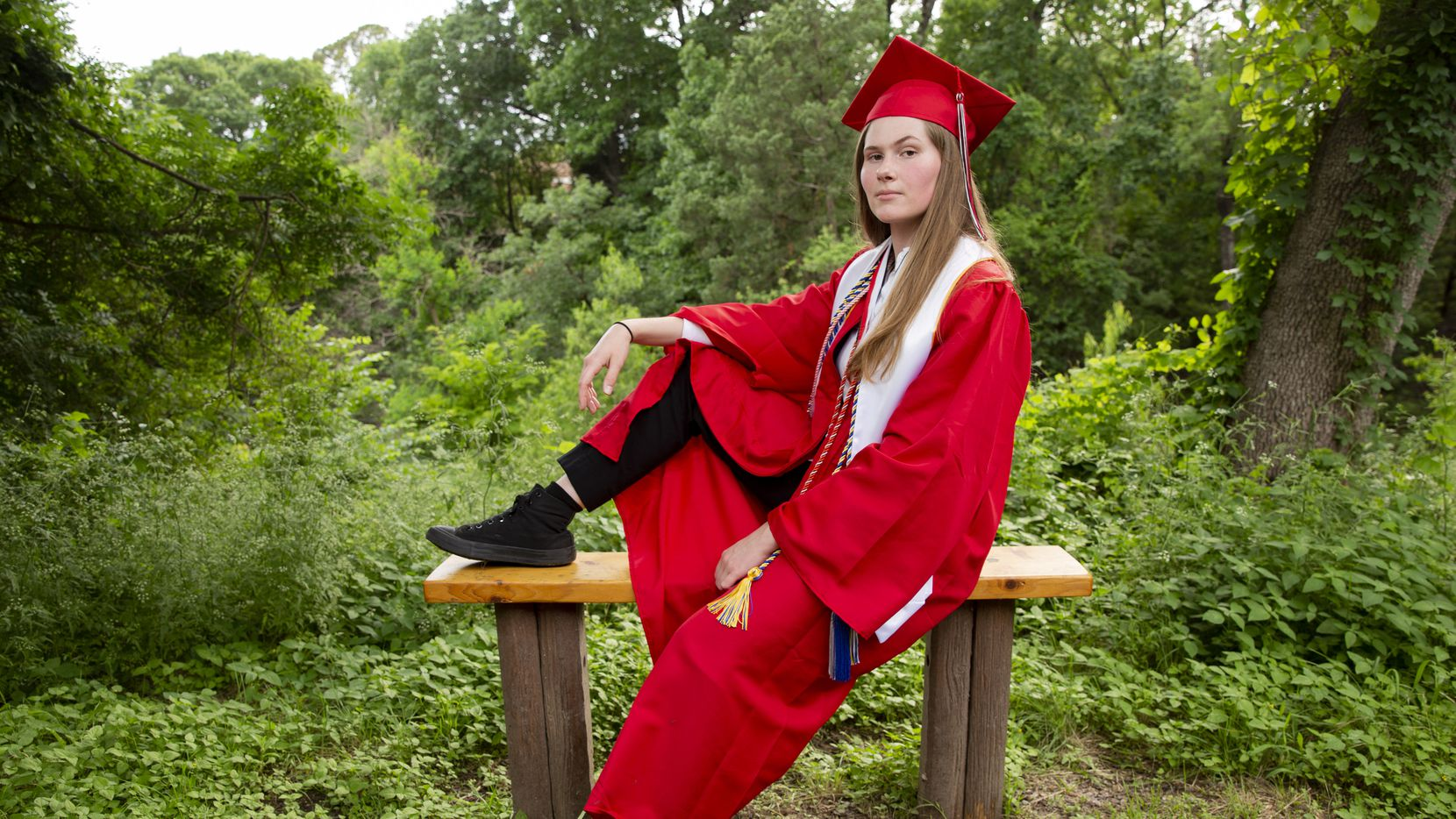 Paxton Smith, Lake Highlands High School valedictorian, poses for a photo on Wednesday, June 2, 2021, in Dallas. (Juan Figueroa/The Dallas Morning News)