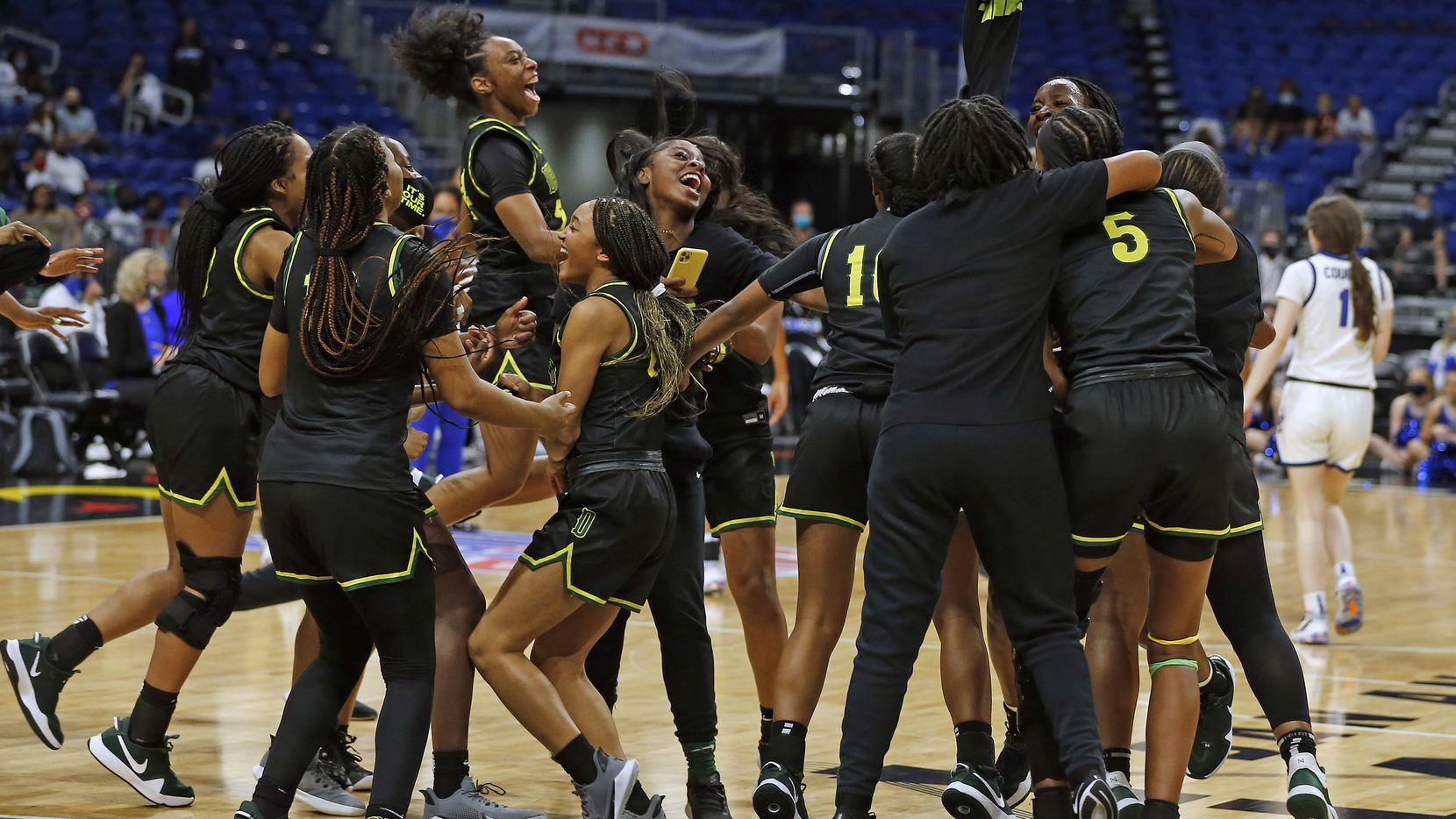 Desoto girls celebrate.DeSoto vs. Cypress Creek girls basketball Class 6A state championship game on Thursday, March 12, 2021 at the Alamodome.