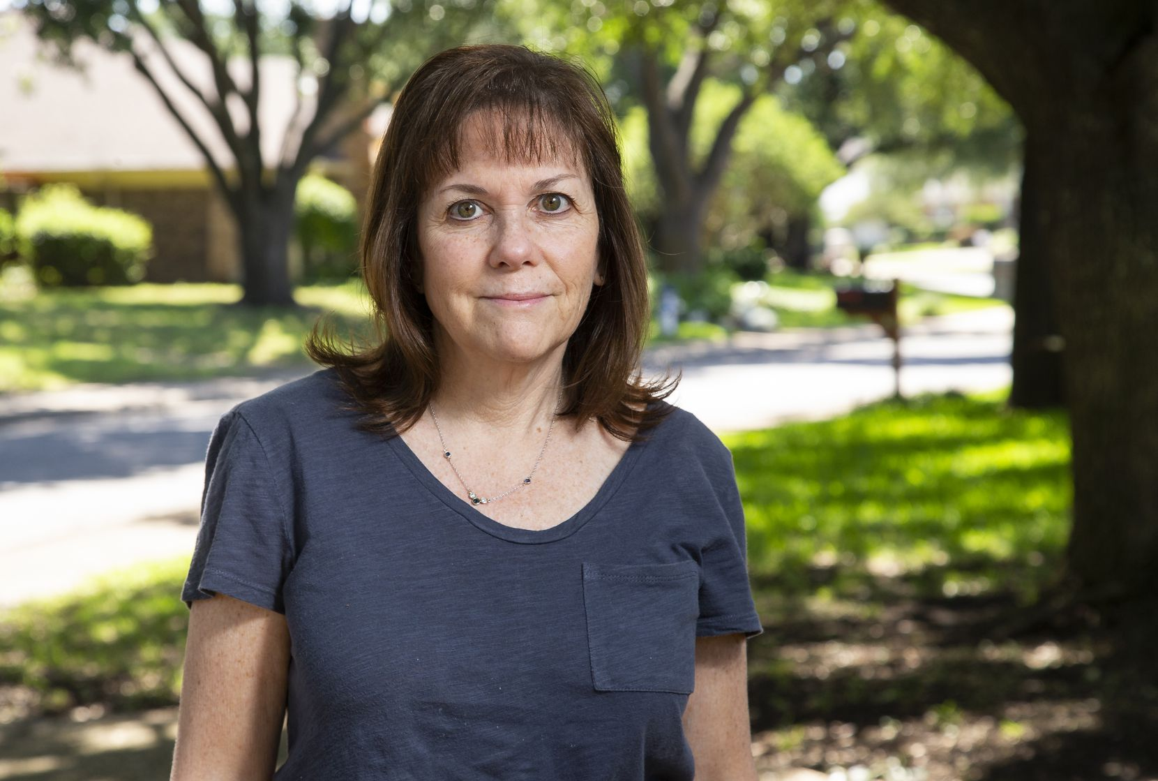 Audrey Pincu poses for a portrait outside of her home in Dallas on Wednesday, June 24, 2020. Pincu's 19-year-old son has Crohn's disease, which leaves his immune system more susceptible, so without vote by mail she said she's hesitant to vote in person. (Juan Figueroa/The Dallas Morning News)