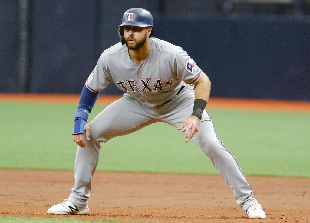 ST. PETERSBURG, FL - JUNE 30:  Joey Gallo #13 of the Texas Rangers gets a lead off first base during the top of the second inning of their game against the Tampa Bay Rays at Tropicana Field on June 30, 2019 in St. Petersburg, Florida. (Photo by Joseph Garnett Jr. /Getty Images)