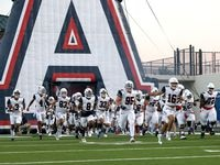 The Allen Eagles in the field to face Denton Guyer in a District 5-6A high school football game played at the C.H. Collins Complex on Friday, October 15, 2021, in Denton.