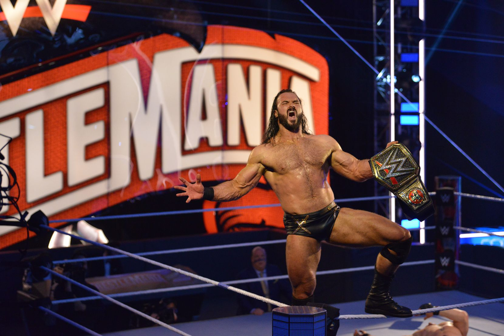 Drew McIntyre celebrates winning the WWE championship after defeating Brock Lesnar at WrestleMania 36. Photo courtesy of WWE.