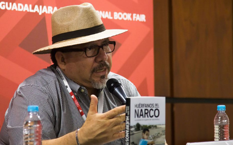 "Mexican journalist Javier Valdez speaking in 2016 during the presentation of his book, ""Huerfanos del Narco""  in Guadalajara, Mexico."