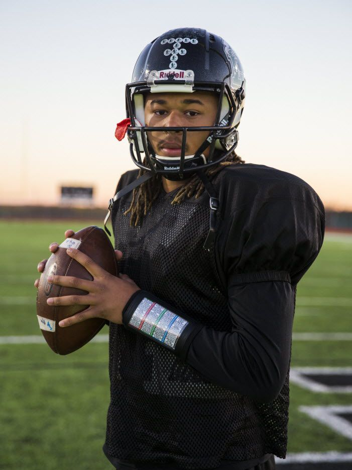 Quarterback Jett Duffey poses for a photo on Wednesday, December 16, 2015 at Mansfield Lake Ridge High School in Mansfield, Texas.   (Ashley Landis/The Dallas Morning News)